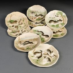 Nine French Majolica Rabbit Plates