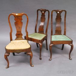Three Queen Anne and Queen Anne-style Side Chairs