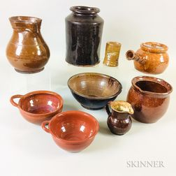 Nine Pieces of Redware Pottery