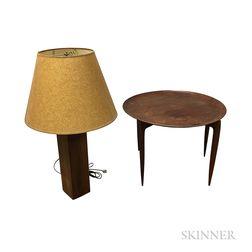 Fritz Hansen Teak Tray Table and a Teak Table Lamp