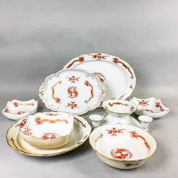 Eight Pieces of Meissen Sepia Dragon and Bird Porcelain