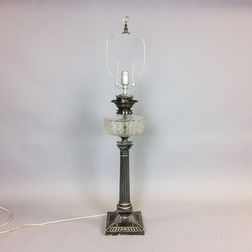 Silver-plate and Colorless Glass Columnar Fluid Lamp