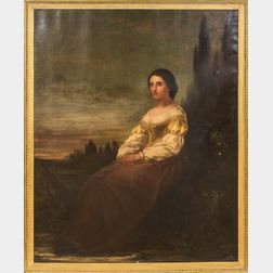 American School, 19th Century      Seated Young Peasant Woman in a Landscape with a Crescent Moon