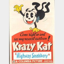 George Joseph Herriman (American, 1880-1944)    Lot of Two Posters for Krazy Kat