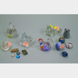 Fifteen Colored and Colorless Glass Items