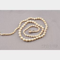 Antique Natural Pearl and Diamond Necklace