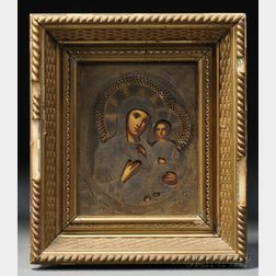 Icon Depicting the Mother of God and the Christ Child with Brass Riza