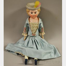Wax over Composition Shoulder Head Doll with Molded Hat