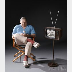 "Anna Lou ""Louie"" Rhoades Figural Sculpture of a Man Watching Television"
