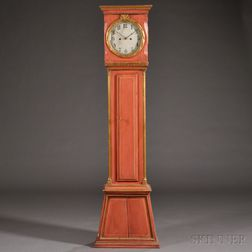 Continental Painted Pine Tall Case Clock