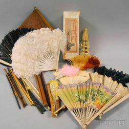 Collection of Wood, Bone, and Feather Antique Hand Fans and Wood and Bone Knitting   Needles
