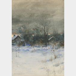 Charles Warren Eaton (American, 1857-1937)      Snowy Landscape at Dusk