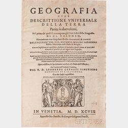 Ptolemy, Claudius (c. AD 100-c. 170) Geografia cio e Descrittione Universale della Terra.