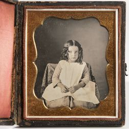 Sixth-plate Daguerreotype of a Little Girl with Ringlets