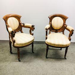 Pair of Victorian Upholstered Rosewood Veneer Armchairs
