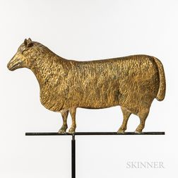 Molded and Gilt Sheet Copper and Cast Zinc Sheep Weathervane