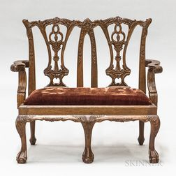 Child's Chippendale-style Carved Mahogany Double-back Settee