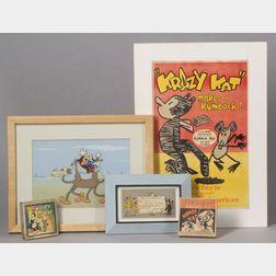 George Joseph Herriman (American, 1880-1944) Krazy Kat Ephemera Including Eight 16mm films, Posters, Kiddi...