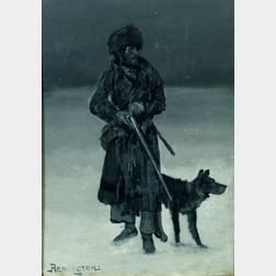 Frederic Sackrider Remington (American, 1861-1909)    The French Canadian Trapper