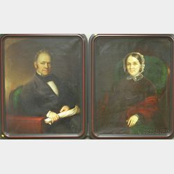 Pair of Framed Oil on Canvas Portraits Attributed to Nelson Cook  (American,    1808-1892)
