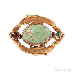 Antique 14kt Gold and Turquoise Brooch, William Wise & Son