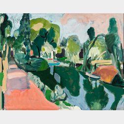 Jason Berger (American, 1924-2010)      The Canal - Xochimilco