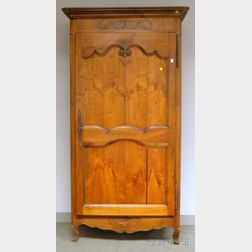 French Provincial Carved Walnut and Fruitwood Armoire
