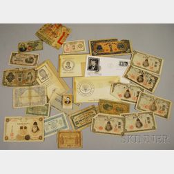Twenty Pieces of Pre-WWII U.S., French, and Asian Currency and J.F. Kennedy Memorial   Postal Items
