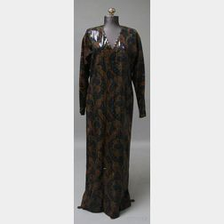 French Designer Andre Laug for Saks Fifth Avenue Paisley Evening Dress