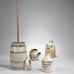 Stoneware Butter Churn, Three Jugs, and a Flask