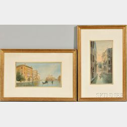Alberto Trevisan (Italian, 1919-1978)    Two Views of Venice: View from Ponte dell'Accademia