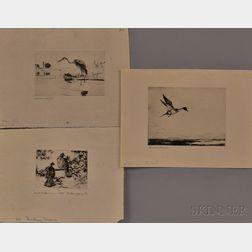 Frank Weston Benson (American, 1862-1951)      Three Images of Waders and Fowl:  Heron Fishing