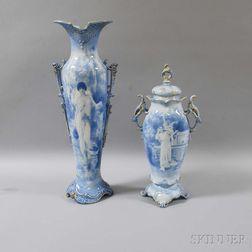 Two Royal Bonn Blue and White Glazed Vases Depicting Women
