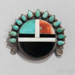 Zuni Sun Face Inlaid Pin