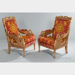 Pair of Versace Swan Throne Chairs