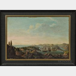 Hans Peter Thorsøe (Danish, 1791-1842)      Naval Engagement off a Mountainous Coast