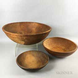 Three Large Turned Maple Bowls