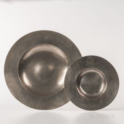 Two Broad-rim Pewter Chargers