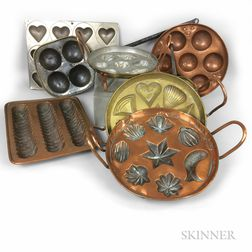 Eight Copper Food Molds