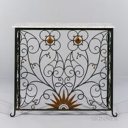 Marble and Wrought Iron Console