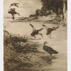 Roland Clark (American, 1874-1957)  Lot of Two Duck Prints:  The Rendezvous