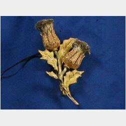 18kt Tri-Color Gold Thistle Brooch