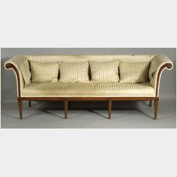 Louis XVI Style Silk Upholstered Mahogany Sofa
