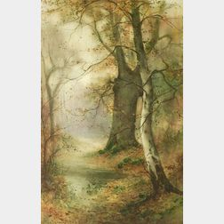 Thomas Taylor Ireland (British, ac. 1800-1927)  Lot of Two Autumn Landscapes: The Birch Tree