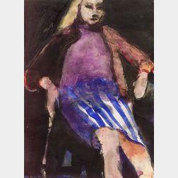 Richard Diebenkorn (American, 1922-1993)    Seated Woman in a Striped Skirt