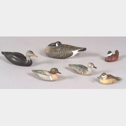 Six Carved and Painted Miniature Water Fowl Decoys
