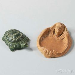 O. W. Ketcham Card Holder and a Mosaic Tile Co. Pottery Turtle