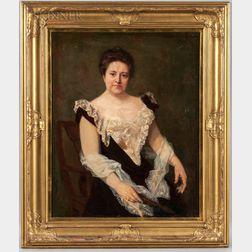 James Allen St. John (American, 1872-1957)      Portrait of a Lady in a Lace-lined Black Dress