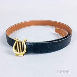 Hermes Lyre Reversible Black/Brown Leather Belt