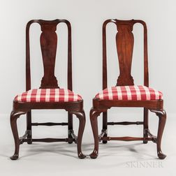 Pair of Queen Anne Walnut Compass-seat Side Chairs